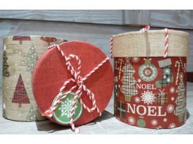 Assortiment de 2 boîtes de Noël rondes
